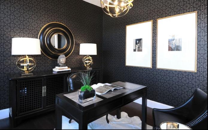 papier peint noir au bureau