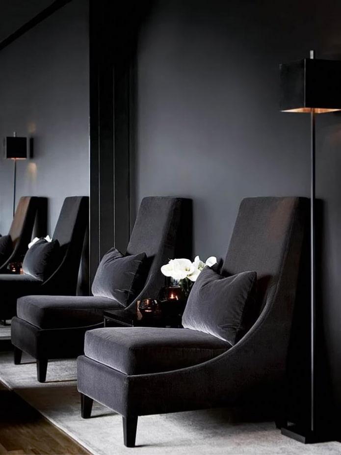 fauteuil en velours noir