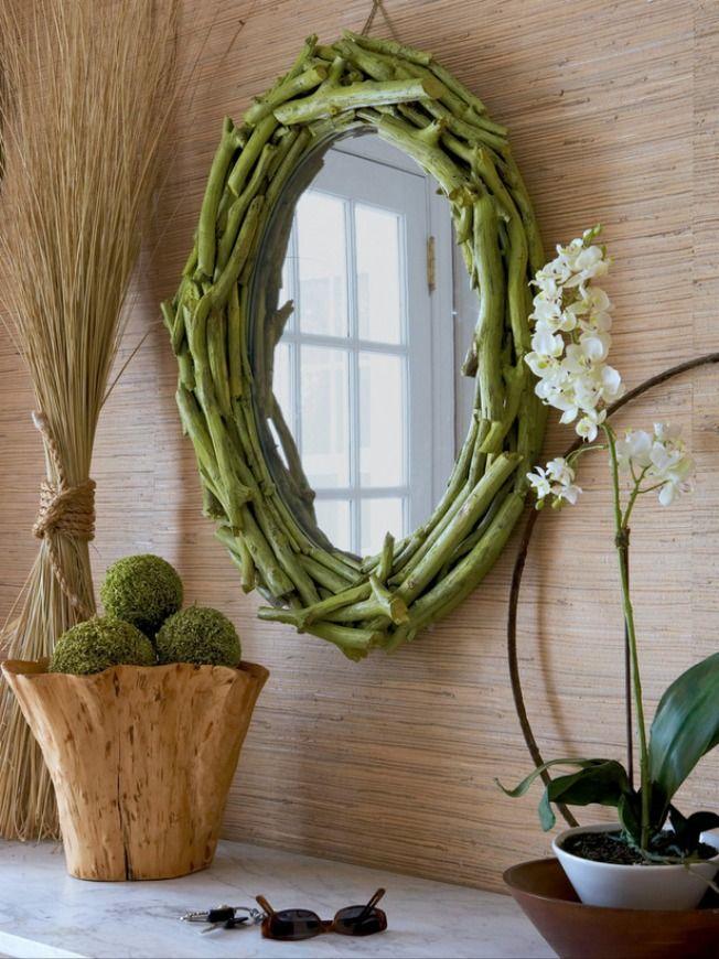 Une excellente idée pour un intérieur éco-style - un cadre de brindilles végétales