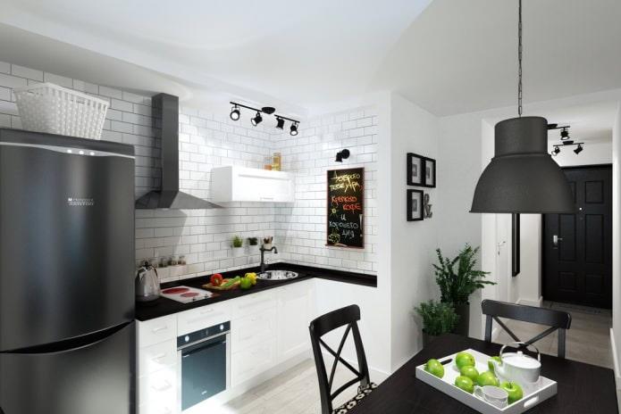 cuisine dans le studio 33 m²  m.