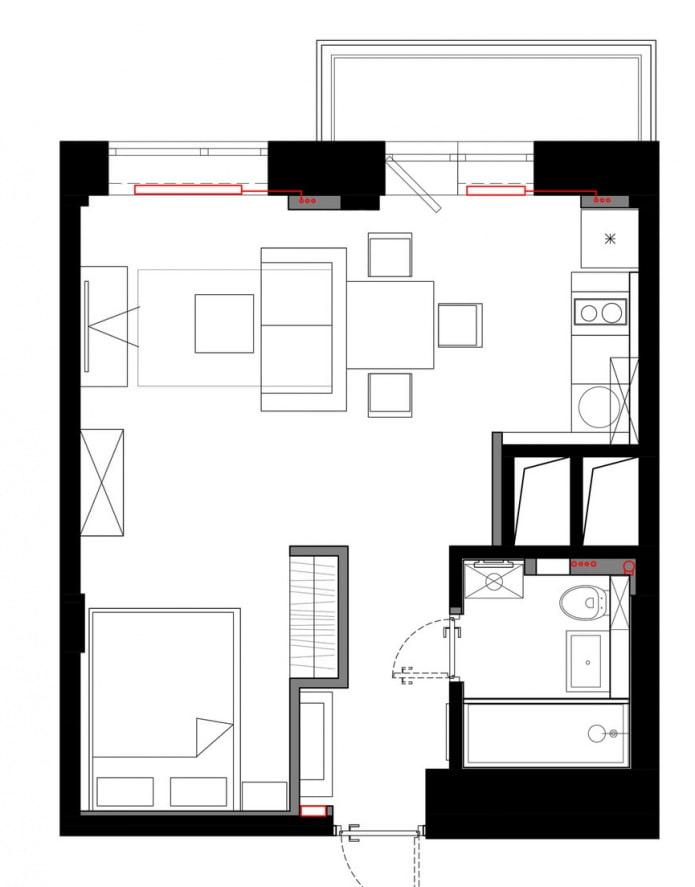 Aménagement d'un studio 33 m².  m.
