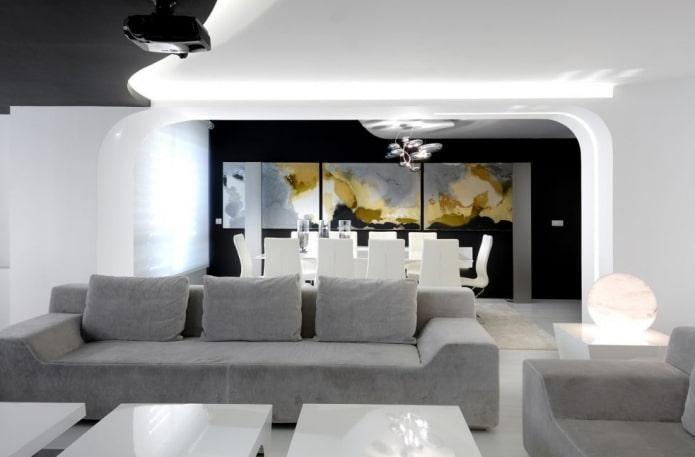 arc à l'intérieur du salon dans un style high-tech