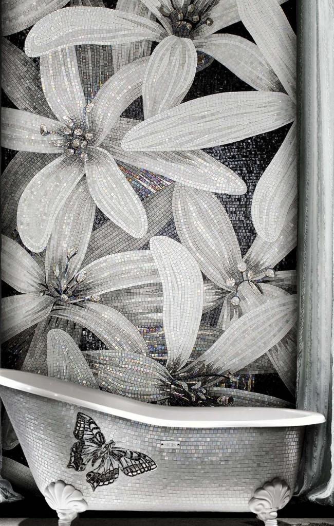 Tracé noir et blanc avec teinte irisée nacrée
