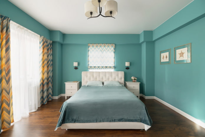 chambre turquoise intérieure