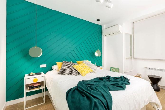 intérieur de chambre blanc et turquoise