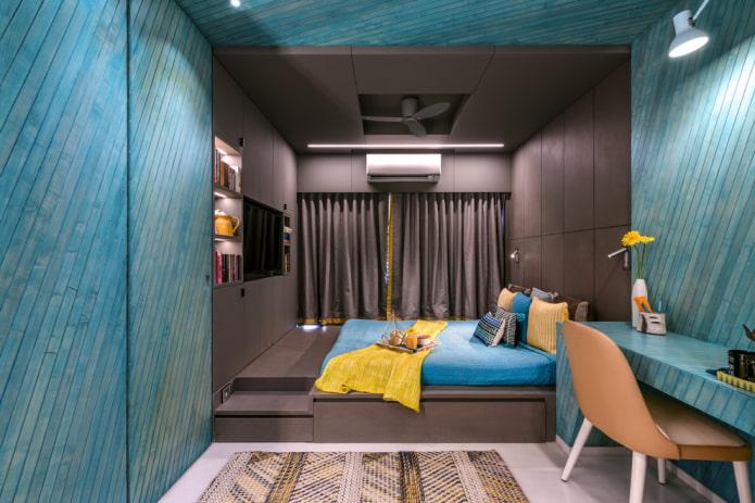 chambre à coucher marron turquoise intérieur