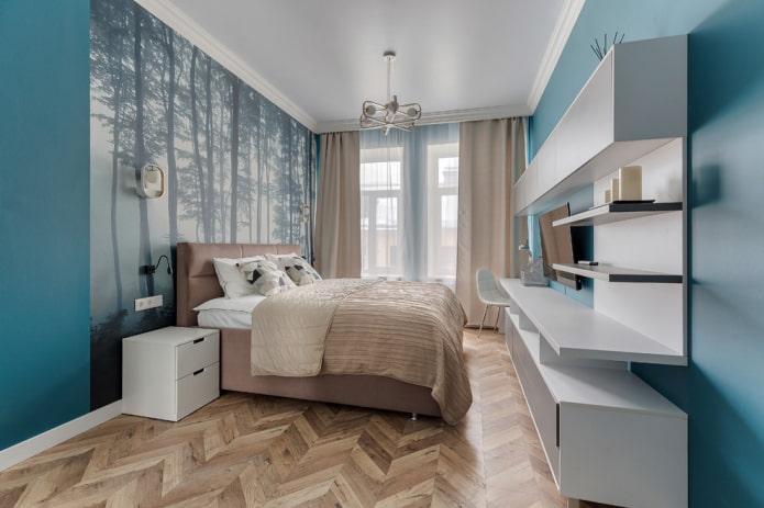 intérieur de chambre beige et turquoise