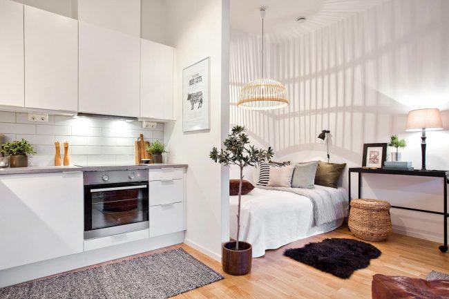 En plaçant la cuisine et la chambre dans une seule pièce, vous pouvez libérer une pièce séparée pour le salon ou la chambre d'enfant