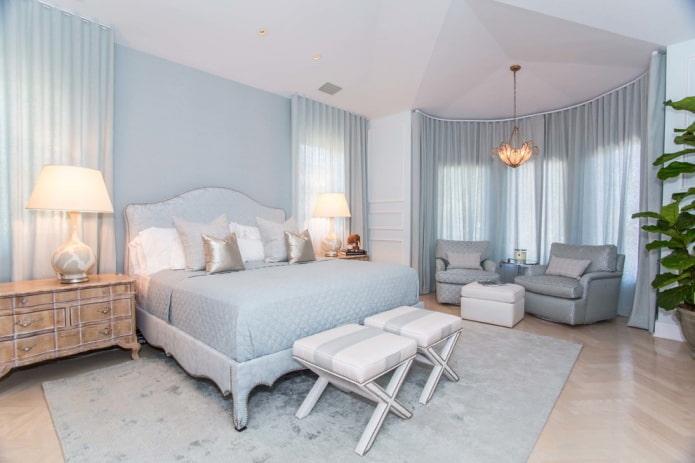 nuances de bleu à l'intérieur de la chambre