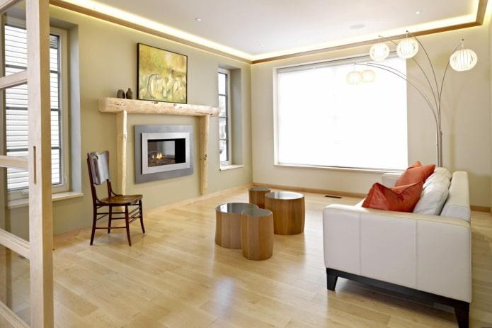aménagement intérieur de la salle dans les tons beiges