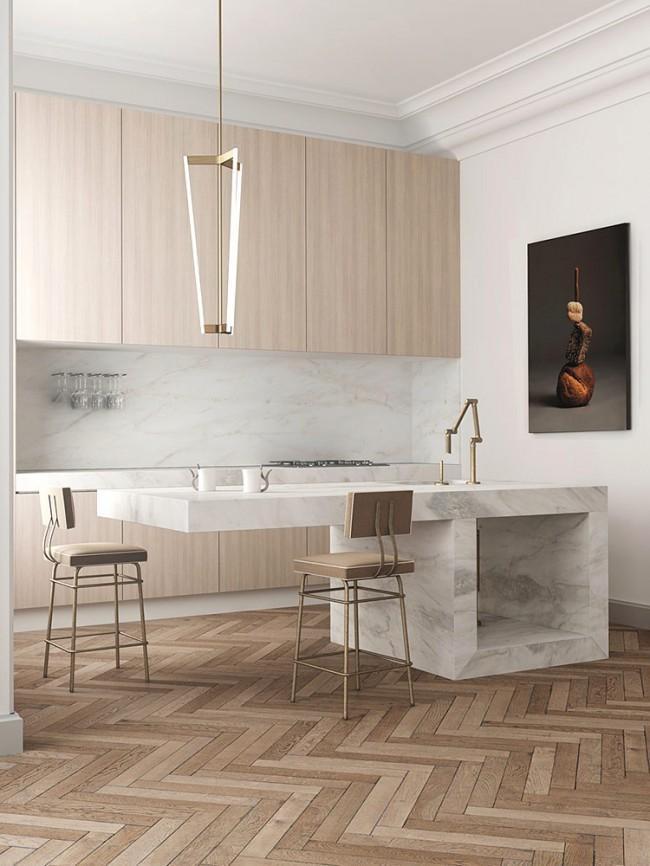 Couleur chêne blanchi.  Le chêne blanchi a l'air aussi bien dans les ensembles de cuisine classiques que modernes