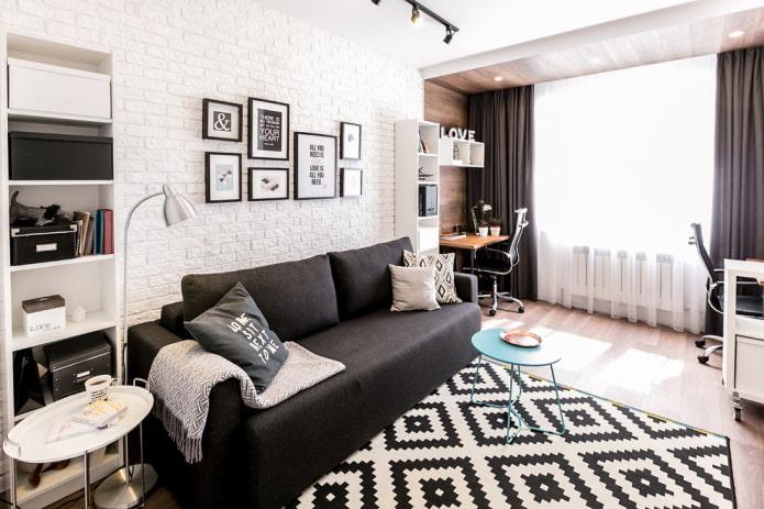 zonage salon d'une superficie de 16 m².