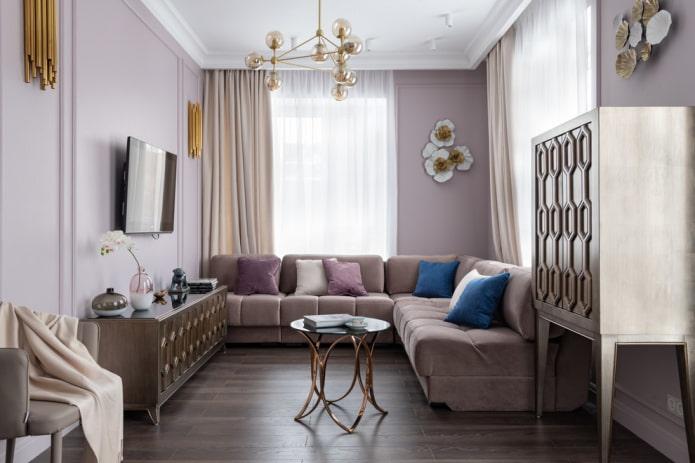 disposition des meubles dans le salon d'une superficie de 16 m².