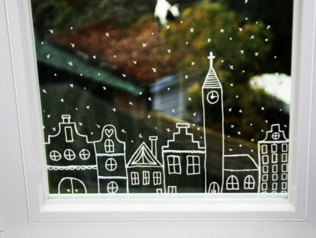 Décorer nos fenêtres avec des dessins au pinceau