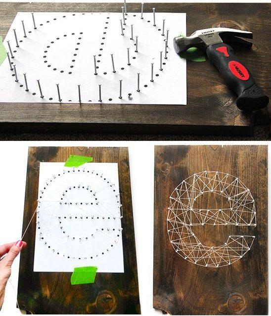 Schéma classique pour créer un panneau simple de fils et de clous pour les débutants