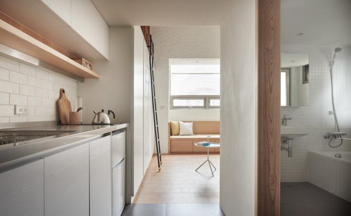 Salle de bain et cuisine dans le studio