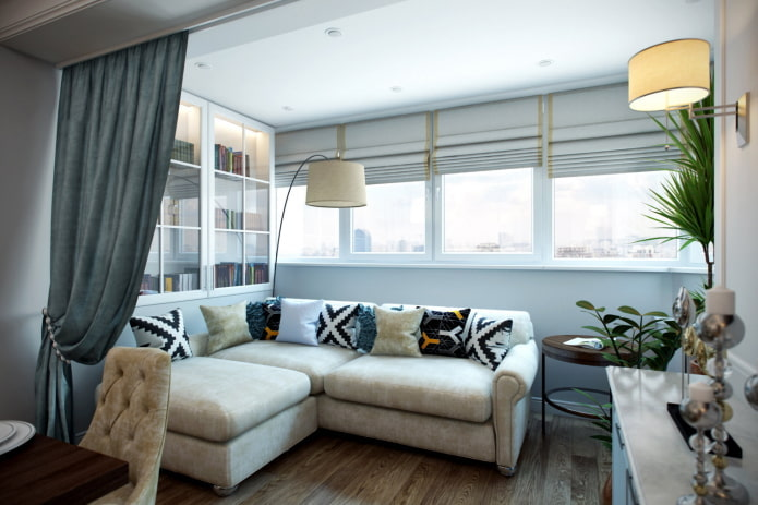 salon combiné avec un balcon
