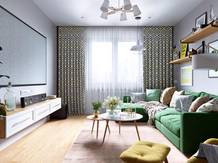 chambre lumineuse avec canapé vert