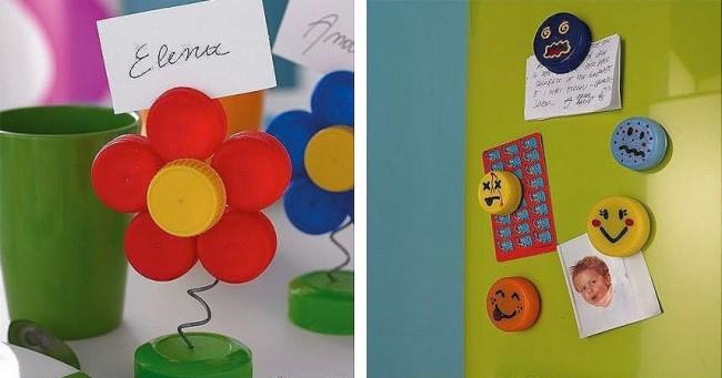 Artisanat à partir de bouchons de bouteilles en plastique.  Développez la créativité des plus jeunes de la famille en réalisant avec eux des travaux manuels simples, tels que des fleurs, des émoticônes, etc.