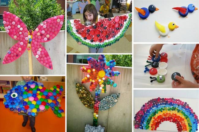 Artisanat à partir de bouchons de bouteilles en plastique.  Les mosaïques et les jouets fabriqués à partir de bouchons de bouteilles en plastique sont un bon moyen de divertir les enfants