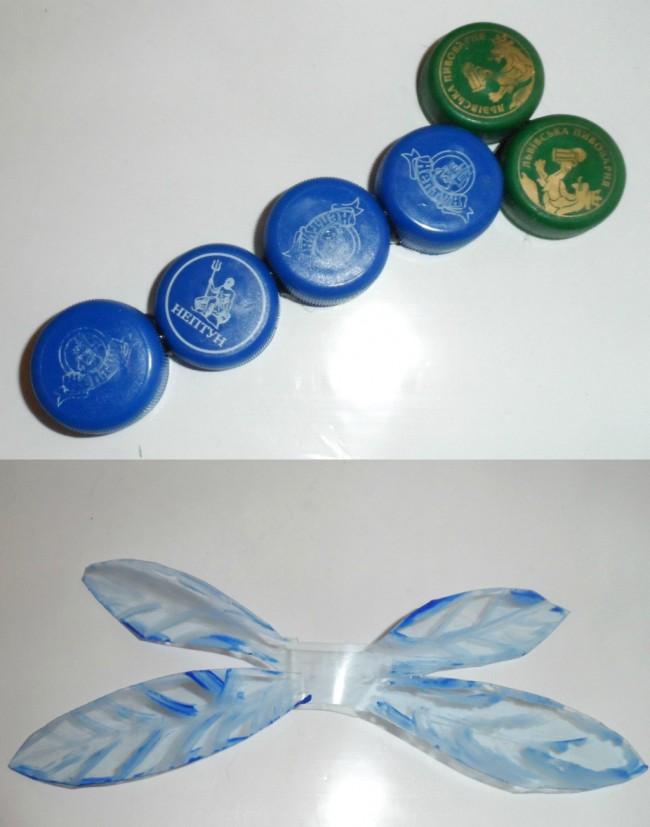 Artisanat à partir de bouchons de bouteilles en plastique.  Décoration de jardin faite de couvercles en plastique