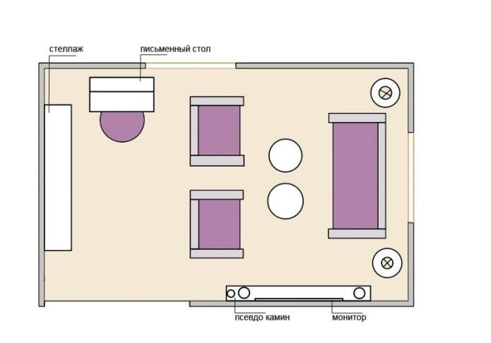 Aménagement du salon 15 mètres carrés avec un lieu de travail