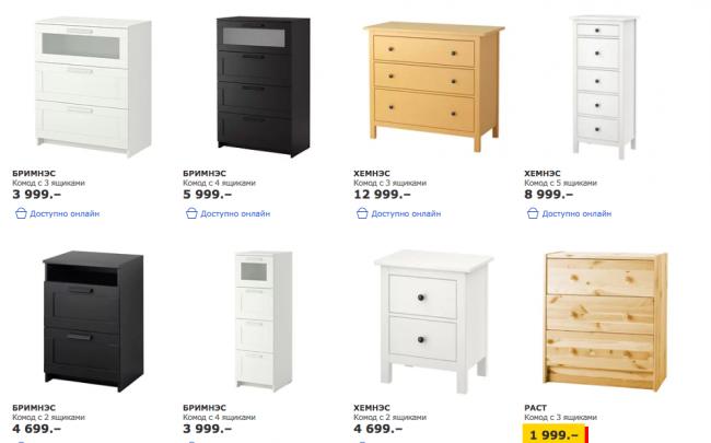 Les prix des commodes d'Ikea commencent à 2-3 mille roubles pour les modèles de base