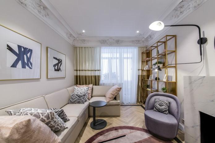 exemple d'agencement de meubles dans un salon rectangulaire