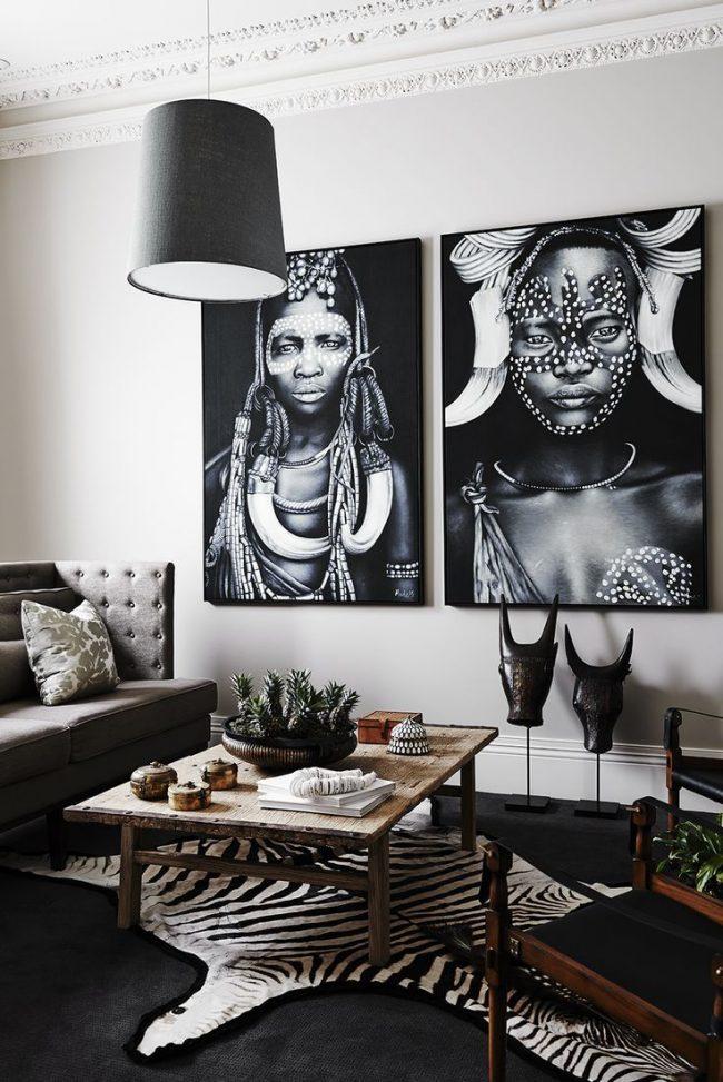 Motifs africains dans la déco du salon
