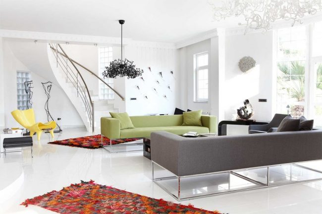 Salon moderne dans un style minimaliste conservateur