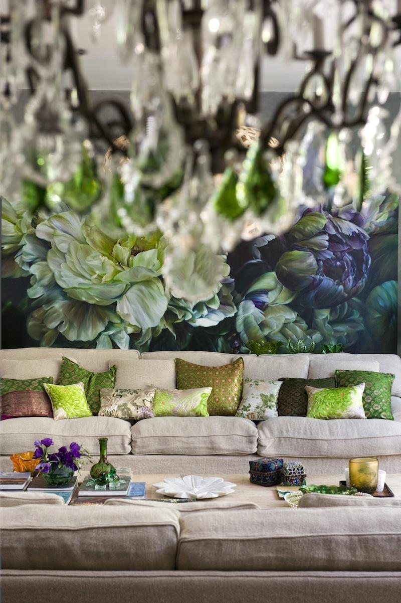 Combinaison harmonieuse de couleurs de papiers peints photo et de coussins