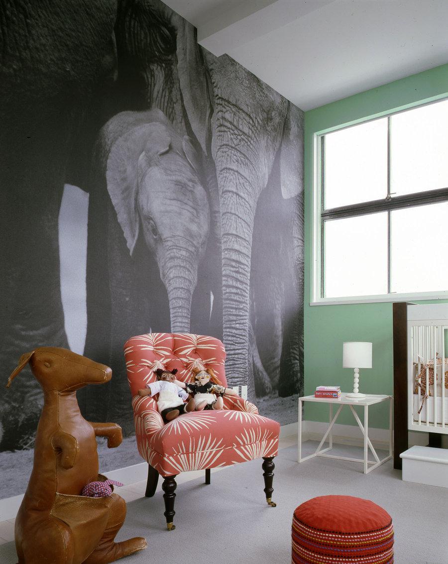 Éléphants - mère et veau au premier plan