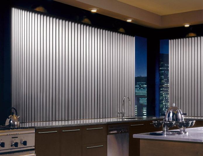 lamelles en aluminium à l'intérieur de la cuisine