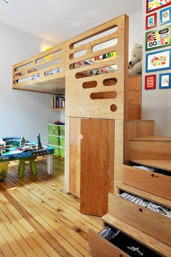 Lit mezzanine avec espace de travail et armoire intégrée