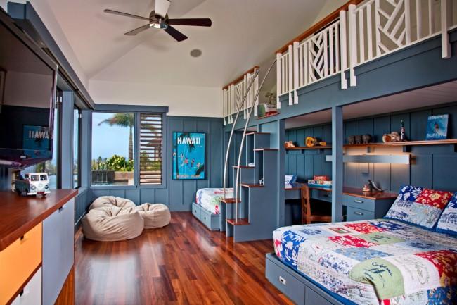 Si l'espace dans votre chambre n'est pas très grand et que vous souhaitez rendre la pièce plus originale, un lit avec une échelle serait une excellente option pour créer un espace supplémentaire.