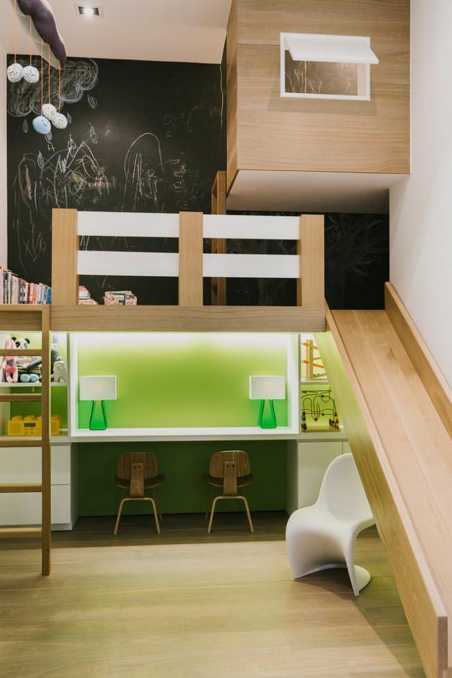 Lit mezzanine dans le style moderne des enfants vert clair