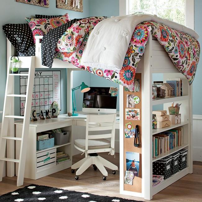 Un lit mezzanine pour adolescent avec un espace de travail confortable s'intégrera dans presque tous les intérieurs