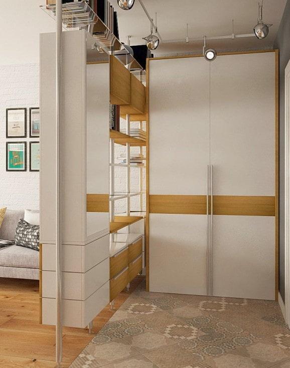 meuble d'angle en forme de cloison à l'intérieur