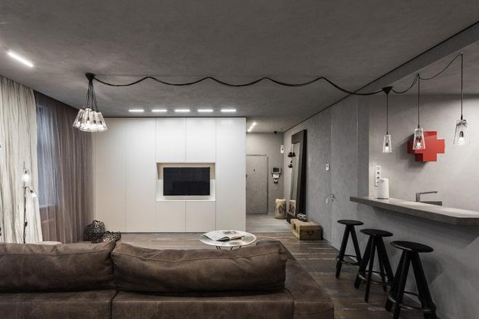 armoire avec une télévision sous la forme d'une cloison à l'intérieur
