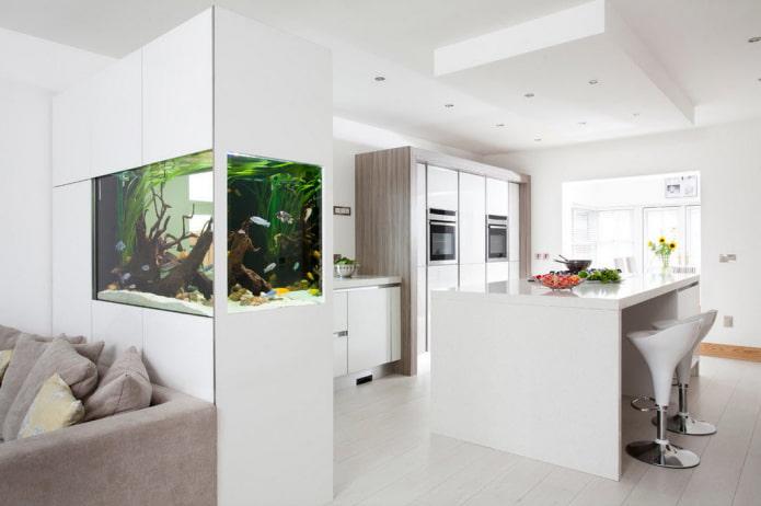 armoire avec un aquarium sous la forme d'une cloison à l'intérieur