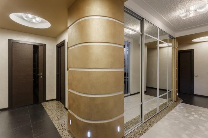 armoire aux extrémités arrondies en forme de cloison à l'intérieur