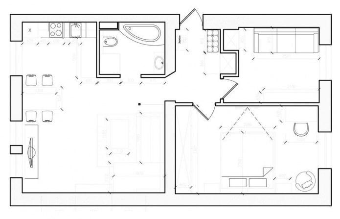 agencement dans le projet de conception d'un appartement de 3 pièces