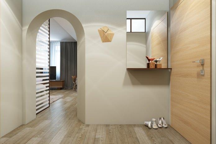 hall d'entrée dans la conception d'un appartement de 67 m².  m.