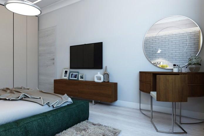 chambre dans un projet de conception d'un appartement de 3 pièces