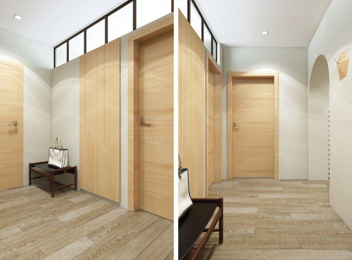 couloir dans le projet de conception d'un appartement de 3 pièces