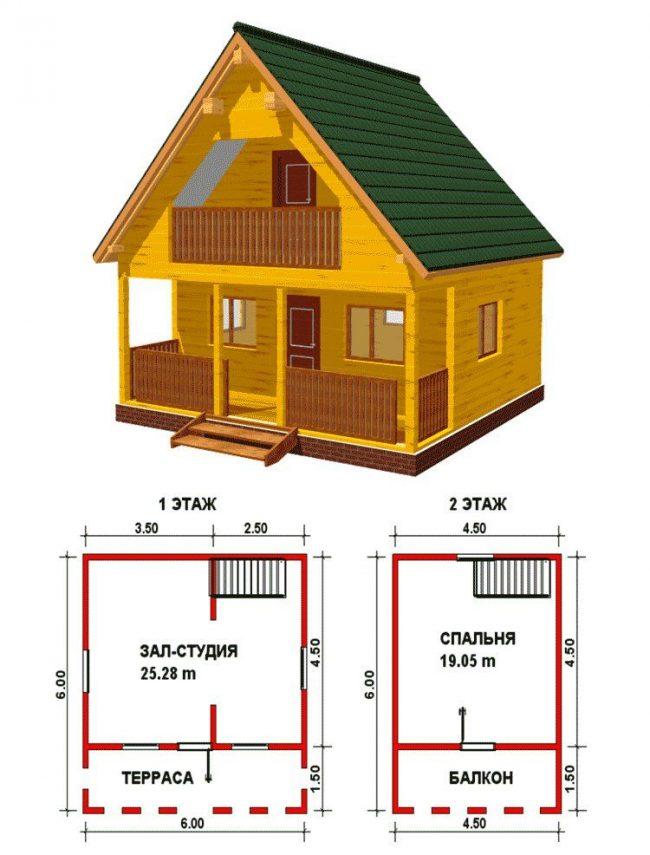 Projet d'une petite maison en bois avec un grenier et un balcon