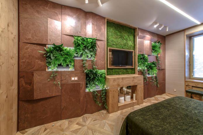 Eco-style dans un intérieur de chambre à coucher moderne