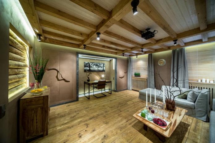 intérieur du salon dans un style écologique