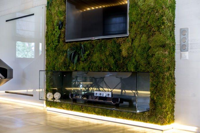 verts vivants à l'intérieur du salon dans un style écologique