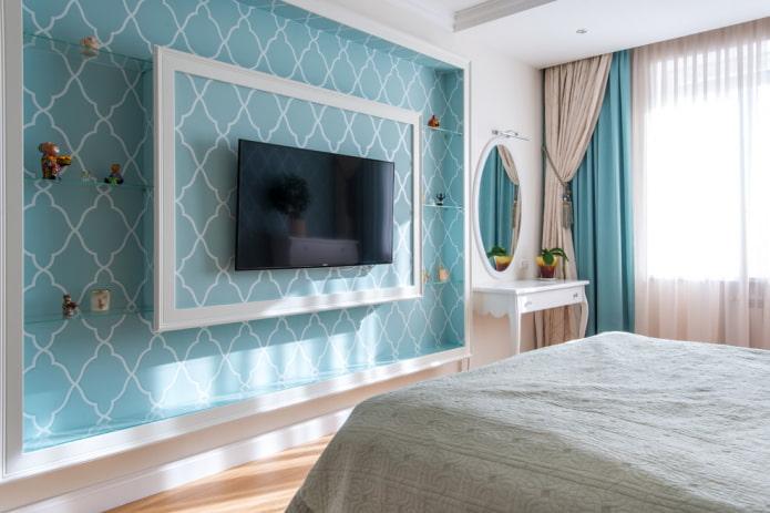 niche avec papier peint à l'intérieur de la chambre